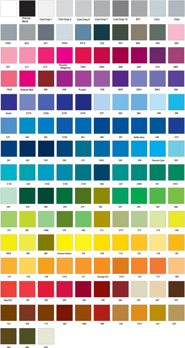 QPS Pantone Colour Chart